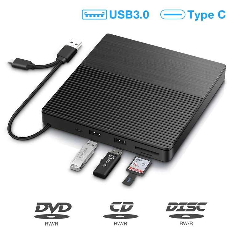Sawake - externes DVD Laufwerk + Brenner (USB Ports, Kartenleser) für 16,19€ inkl. Prime Versand