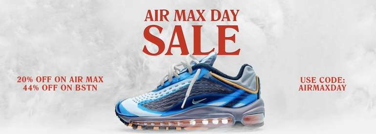 Nike Air Max Day 2019: BSTN mit 20% auf alle Modelle z.B. Air</p>                     					</div>                     <!--bof Product URL -->                                         <!--eof Product URL -->                     <!--bof Quantity Discounts table -->                                         <!--eof Quantity Discounts table -->                 </div>                             </div>         </div>     </div>     