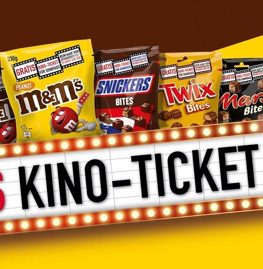 3 MARS Artikel (M&M`s, MARS, Snickers, Twix etc.) im Wert von 10€ kaufen & gratis Kino-Ticket bekommen