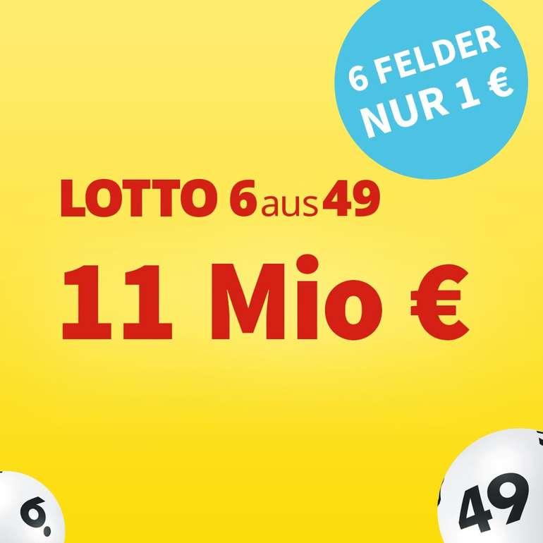 Lottohelden: 6 Felder 6aus49 für 1€ (statt 6€) - aktuell sind 11 Millionen € im Jackpot