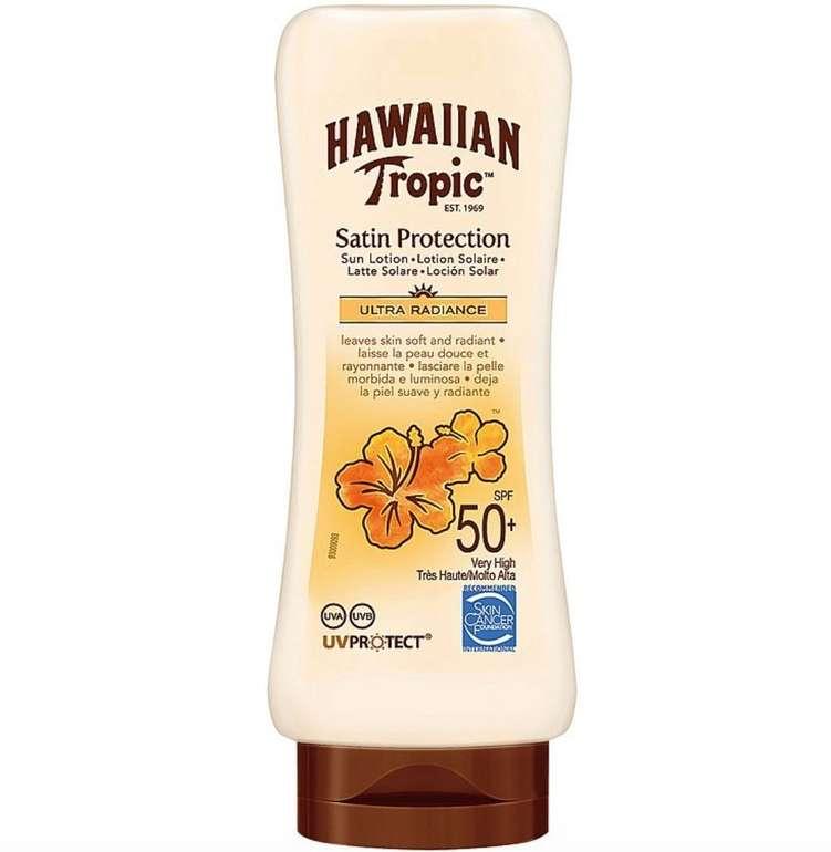 3er Pack Hawaiian Tropic Satin Protection Sonnenlotion (LSF 50, je 180ml) für 9,99€ inkl. Versand (statt 25€)