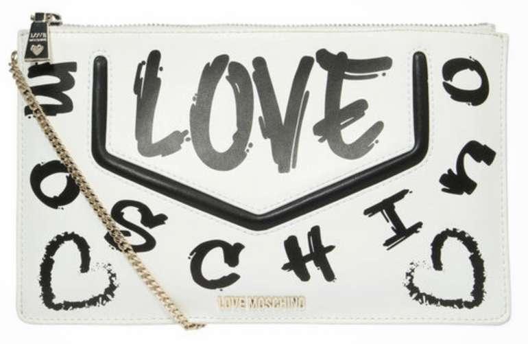 Love Moschino Clutch mit Print in Schwarz/Weiß für 64,50€ inkl. Versand (statt 129€)