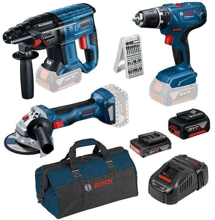 Bosch Set: GSR 18 V-21, GBH 18 V-21, GWS 18 V-7, 2 Akkus, 25tlg. Bitset für 301,76€ (statt 350€)