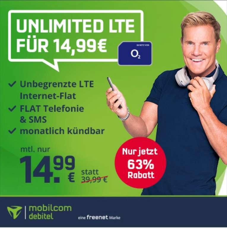 mobilcom-debitel o2 Unlimited Smart Tarif mit Allnet-Flat & unbegrenzt LTE Datenvolumen (10 Mbit/s) für 14,99€ mtl.