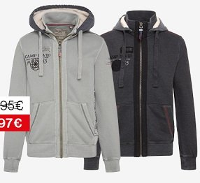 Camp David & Soccx: Herren Sweatjacke 79,97€ oder Damen Steppjacke für 95,97€