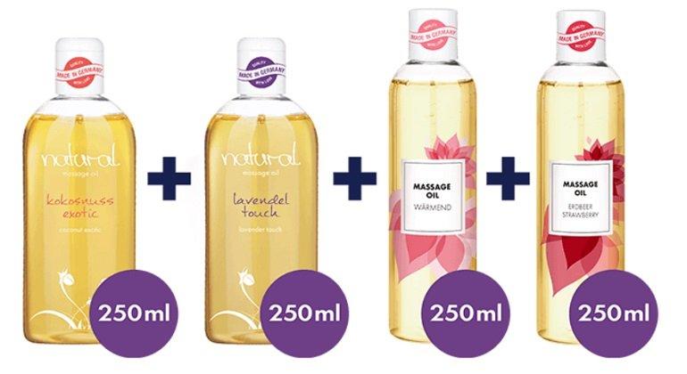 Eis.de: Vielseitiges Massageöl-Set (4 x 250ml) komplett kostenlos (MBW 19,95€)