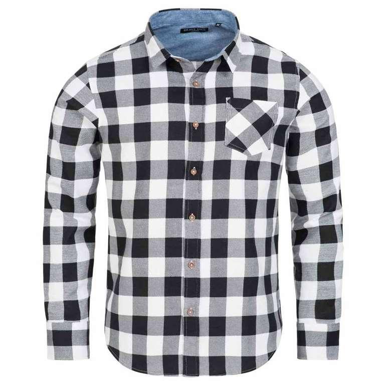 Brave Soul Jack Check Print Flannel Herren Karo Hemd in weiß für 3,33€ zzgl. Versand