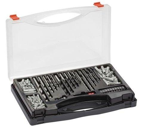 Werkzeug-Set mit 132 Teilen (Bohrer- Bits- und Dübel) im Koffer für 17,99€
