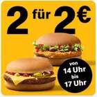 McDonalds App: 2x Cheeseburger oder 2x Chickenburger für 2€ (14 bis 17 Uhr)