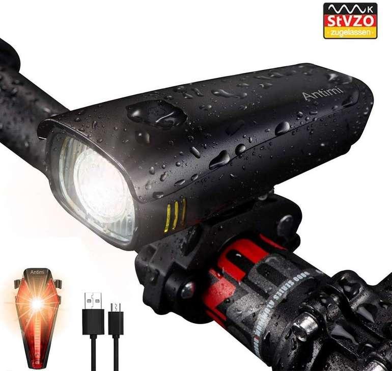 Antimi LED Fahrradlicht im Set (wiederaufladbar, IPX5) für 12,24€ inkl. Prime Versand (statt 27€)