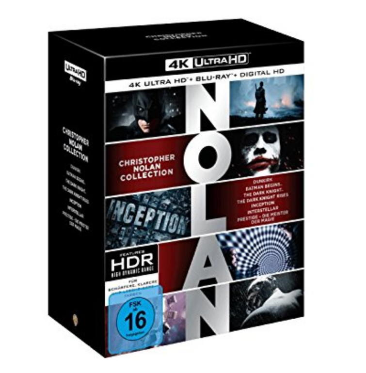 Nolan Collection - 7 Filme Blu-ray 4K + Digital UV für 79,99€ (statt 120€)