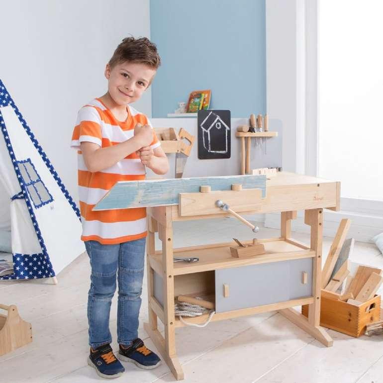 howa Kinderwerkbank (aus massivem Hartholz) inkl. 32-teilige Werkzeugkiste für 136,49€