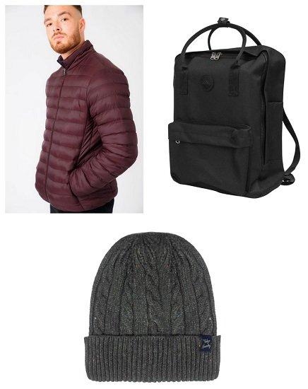 Tokyo Laundry Herren Winterbundle mit Jacke, Mütze und Rucksack (versch. Varianten) für 32,98€ (statt 46€)