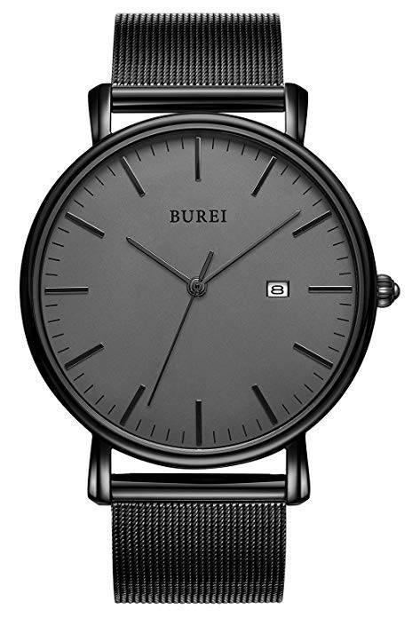 Burei Herren Uhr, schwarz - Quartz mit Datumsanzeige für 16,89€ - Prime!