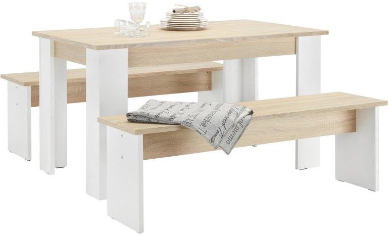 Tischgruppe in Eiche/Weiß für 68€ bei Abholung in Mömax Filiale