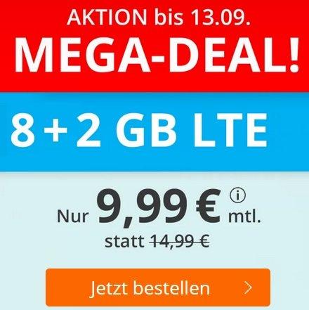 Sim.de o2 Allnet-Flat mit 10GB LTE Datenvolumen für 9,99€ mtl. (drei monatlich kündbar)
