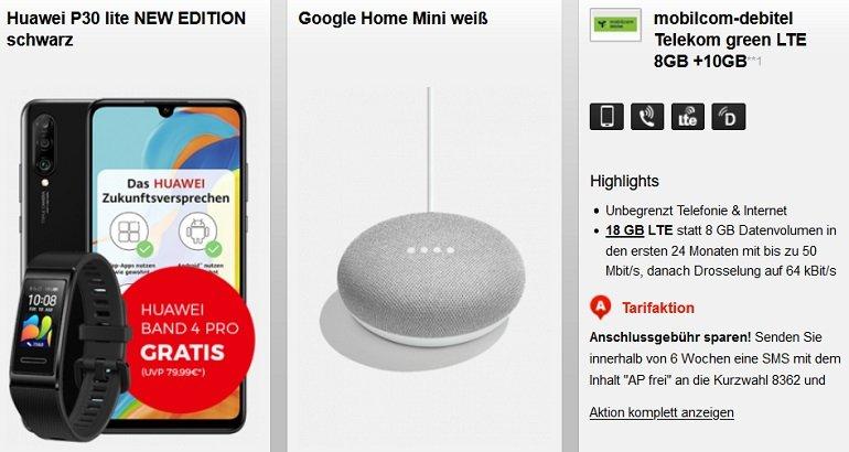 Huawei P30 lite + Band 4 Pro + Home Mini Telekom Allnet-Flat 18GB LTE