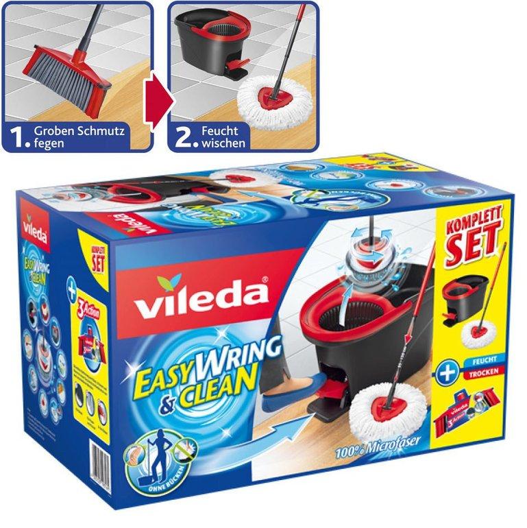 Vileda EasyWring & Clean mit Besenkopf, Wischmop und Bodenwischer zu 29,99€