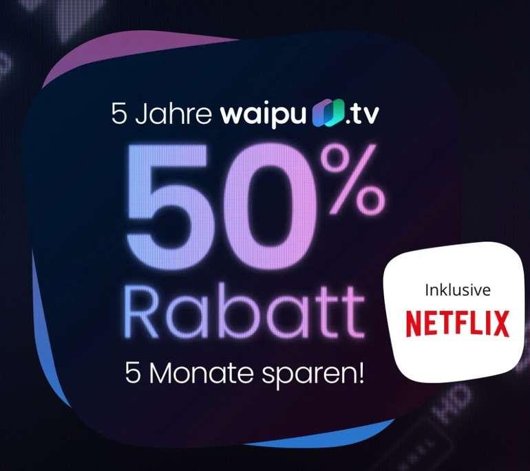 5 Monate waipu.tv Perfect (6,50€ mtl.) oder Perfect Plus + Netflix für 12,25€ mtl. dank 50% Rabatt