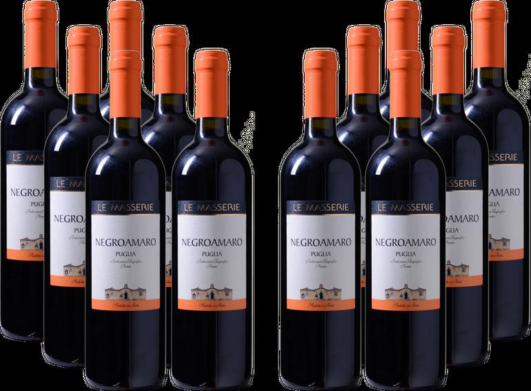 12er-Paket Le Masserie - Negroamaro - Puglia IGP Rotwein für 39,96€ mit Versand