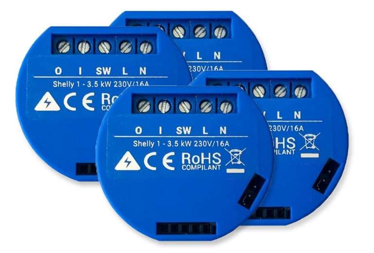 4er Pack Shelly 1 WiFi Schaltaktor (Zeitsteuerung, Sprachsteuerung, für Unterputzdosen) für 35,48€ (statt 45€)