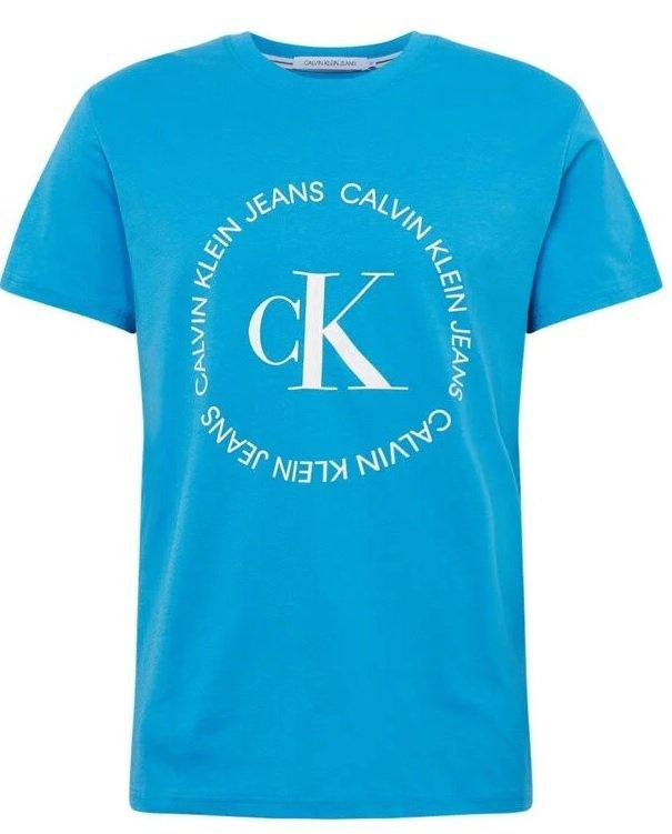 Calvin Klein Jeans T-Shirt in blau/weiß mit rundem Logo für 17,45€ inkl. Versand (statt 32€)