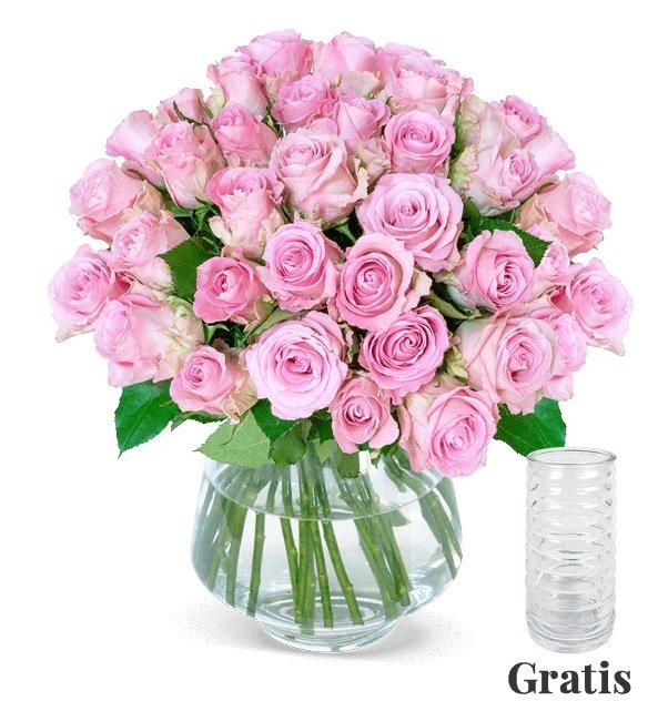 25 roséfarbene Rosen + gratis Vase für 24,98€ inkl. Versand (statt 40€)