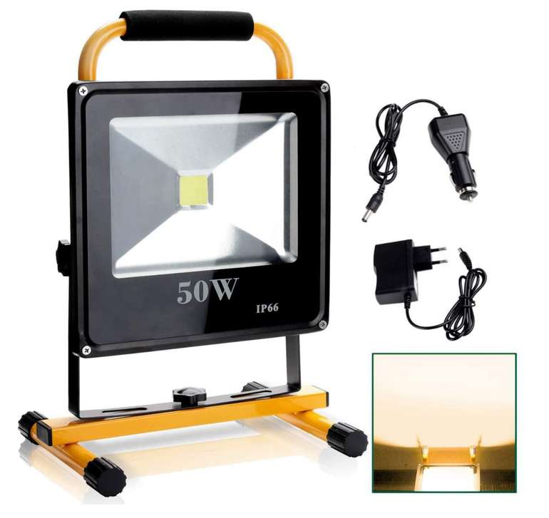 Hengda LED Baustrahler mit Akku (50W) Warmweiß für 25,53€ inkl. Prime Versand (statt 40€)