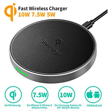 Saachso Fast Wireless Qi Charger in drei verschiedenen Farben ab 10,44€ (Prime)