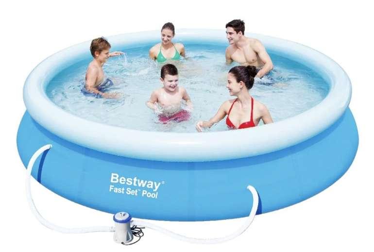 Bestway Schwimmbecken Fast Set Pool inkl. Filterpumpe (Ø 366 x 76 cm, 3300 Liter) für 57,11€ (statt 74€)