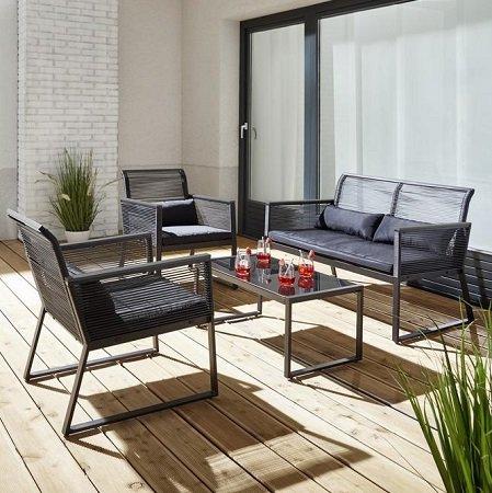11-teilige Loungegarnitur Tina mit 2 Stühlen, Sitzbank, Tisch & Auflagen 190,47€