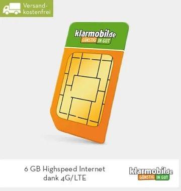 Hammer! Klarmobil Allnet Flat mit 6GB LTE Datenvolumen für 13,99€ im Monat