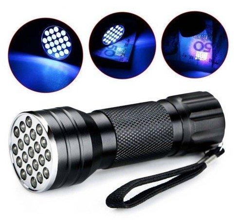 UV Taschenlampe aus Aluminium mit 21 LEDs für 1,27€ inkl. Versand