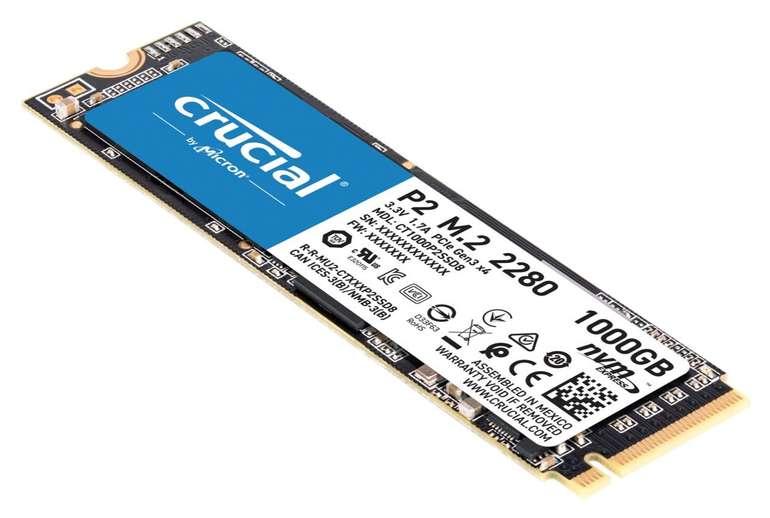 Crucial P2 SSD 1TB M.2 NVMe für 73,89€ inklusive Versand (statt 87€)