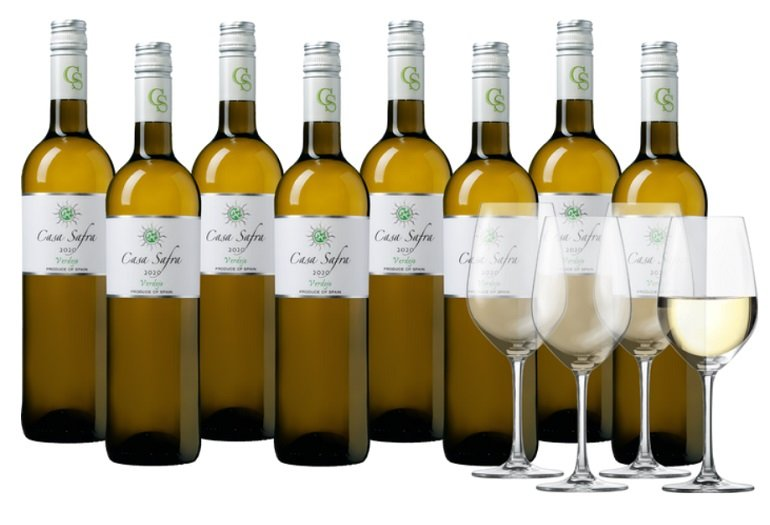 Casa Safra Weinpaket mit 8 Flaschen + 4 Schott Zwiesel Gläser für 44,99€