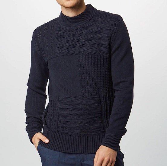 Jack & Jones Herren Pullover 'Jprarvin Knit High Neck' in Navy für 19,04€