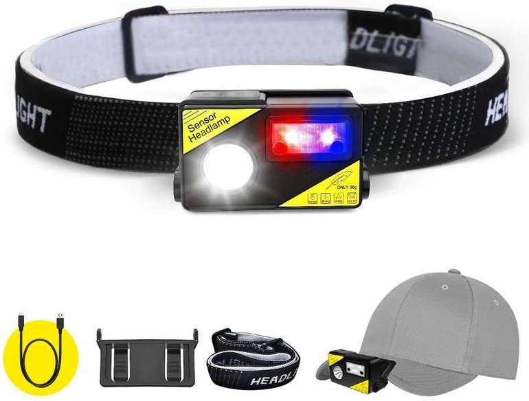 Sgodde wiederaufladbare LED Stirnlampe mit Sensor (300 Lumen, IPX65) für 11,83€ inkl. Prime Versand (statt 17€)