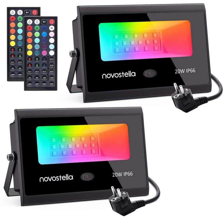 2er Pack Novostella RGB LED 20 Watt Strahler für 27,94€ inkl. VSK