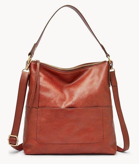 Schnell? Fossil Damen Handtasche Amelia Hobo aus braunem Leder für 34,20€ (statt 164€)