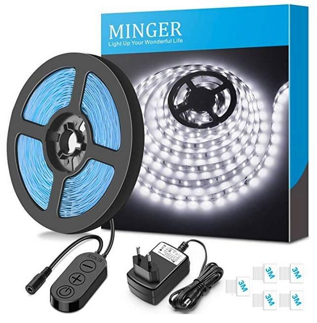 Minger - 5 Meter LED Lightstrip Tageslichtweiß 6000K für 9,59€ inkl. Prime