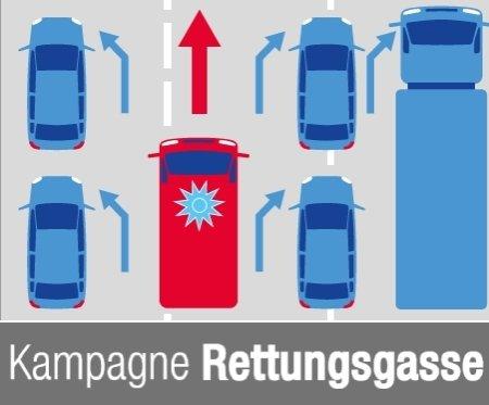 """Total: Auto-Aufkleber """"Rettungsgasse bilden"""" kostenlos bestellen"""