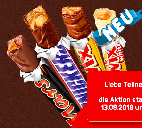 Mars-, Twix- oder Snickers Schokosticks gratis testen dank Geld zurück Garantie