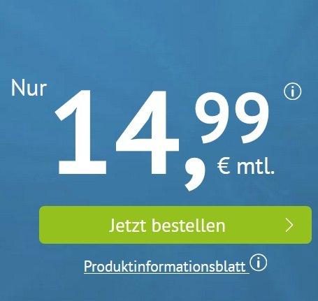 Handyvertrag.de: o2 AllNet-Flat mit 20GB LTE für 14,99€ mtl. (monatlich kündbar!)