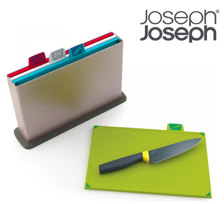Joseph Joseph: 4 Schneidebretter + Kochmesser für 40,90€ inkl. Versand