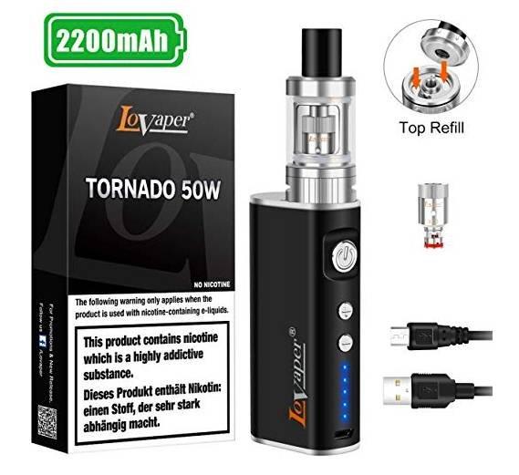 E Zigarette Starter Set, Lovaper 50W, 2200mAh für 15,39€ inkl. Prime Versand