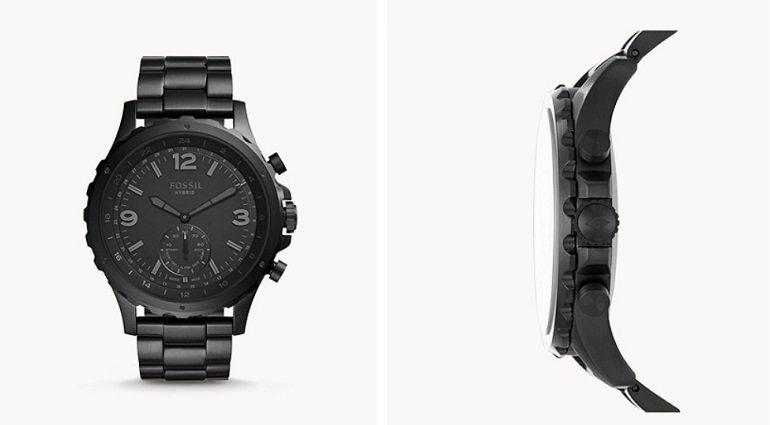 Fossil Q Nate Edelstahl Herren Hybrid Smartwatch