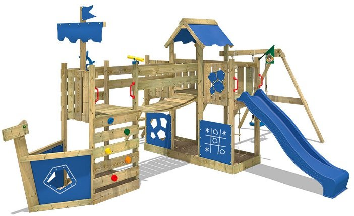 WICKEY - Spielhaus mit Kletterturm, Sandkasten und Rutsche für 599€