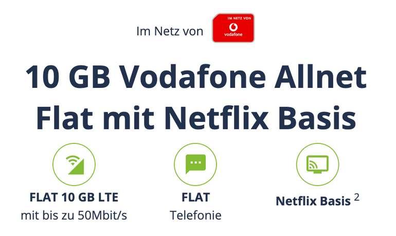 Vitrado: 10 GB Vodafone Allnet Flat mit Netflix Basis für 19,98€ mtl.