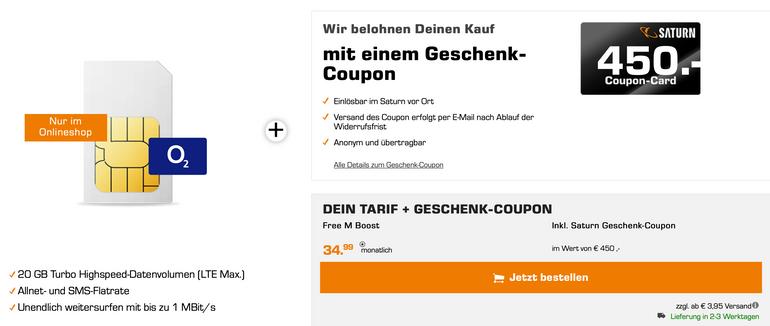 o2 Free M Boost (20GB LTE, Allnet & SMS) für 34,99€ mtl  + 450€…