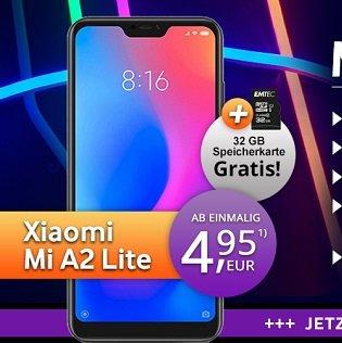 Xiaomi Mi A2 Lite + 32GB MicroSDHC + o2 AllNet mit 3GB LTE für 14,99€ mtl.